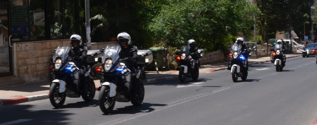 Motorcycles in motorcade for President of Guatemala In Jerusalem Israel