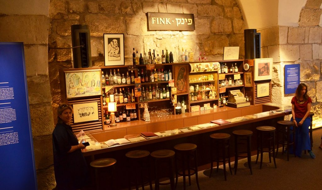 Replica of Fink's Bar in Tower of David Museum exhibit on British rule