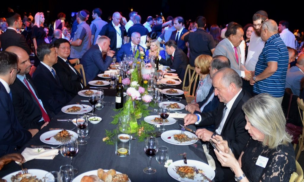 Head table at gala dinner opening of Thinking Out of the Box Science and Technology conference in Jerusalem Israel