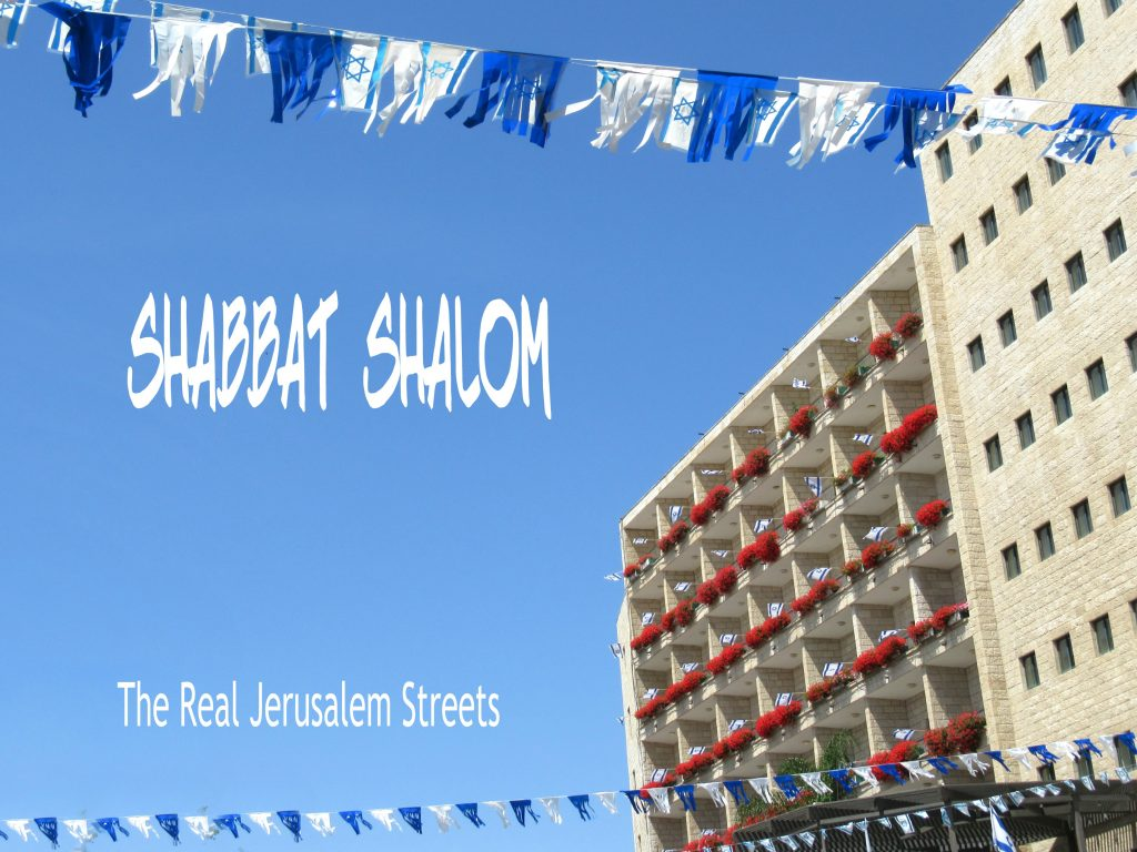 Blue and white flags for Shabbat shalom