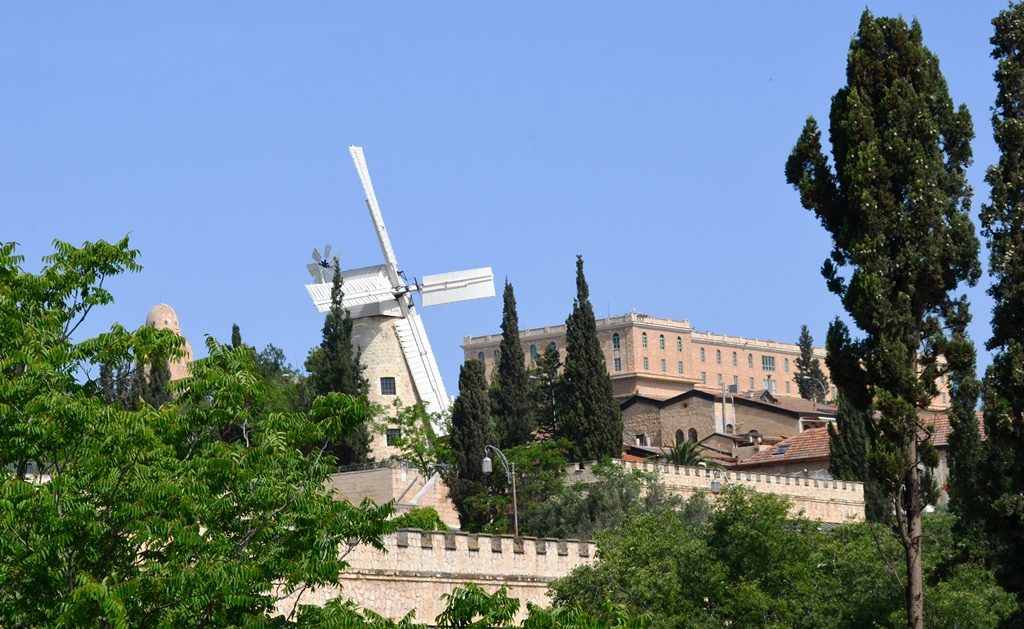 View of Montefiore Windmill and King David Hotel Jerusalem Israel