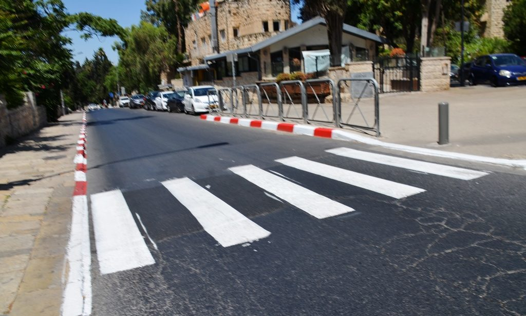 White crosswalk lines on Jerusalem Israel street