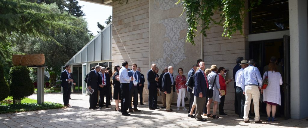 AJC Board of Governors line up to enter Beit Hanasi in Jerusalem Israel