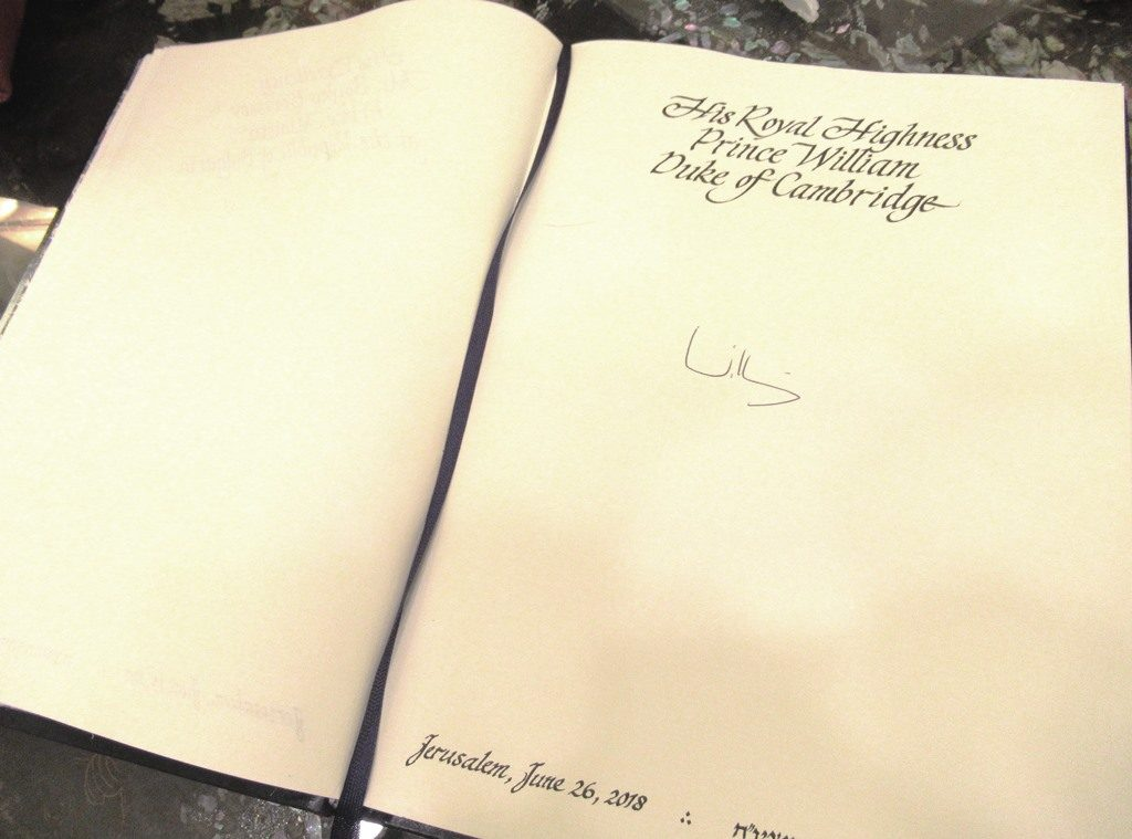 Guest book of Israel President signed by HRH Prince William in Jerusalem Israel