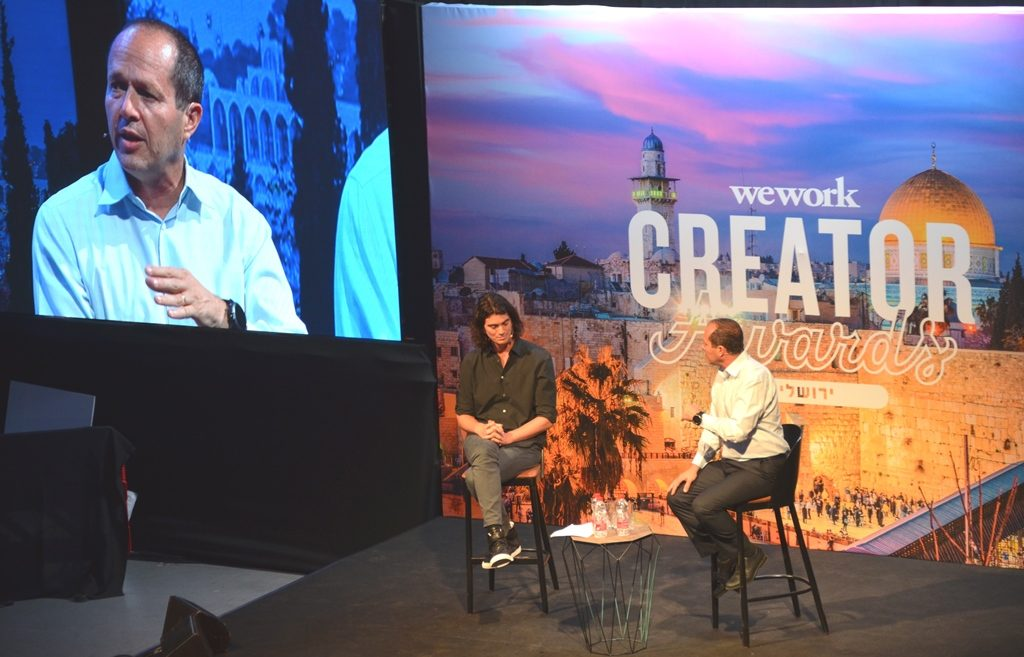 Adam Neumann and Nir Barkat at Jerusalem Arena for Creator Awards