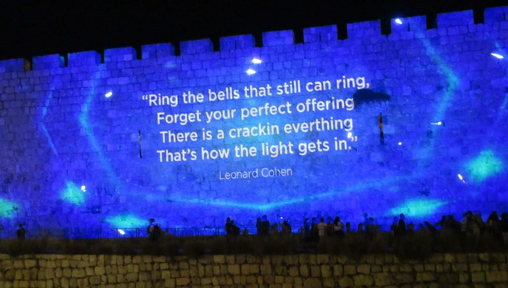 Old City Wall with English saying from Jerusalem Light Festival