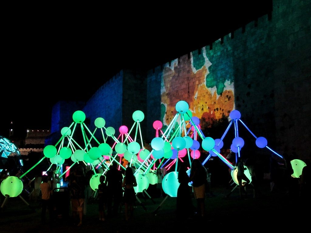 Light installation outside wall of Old City for Jerusalem Light Festival