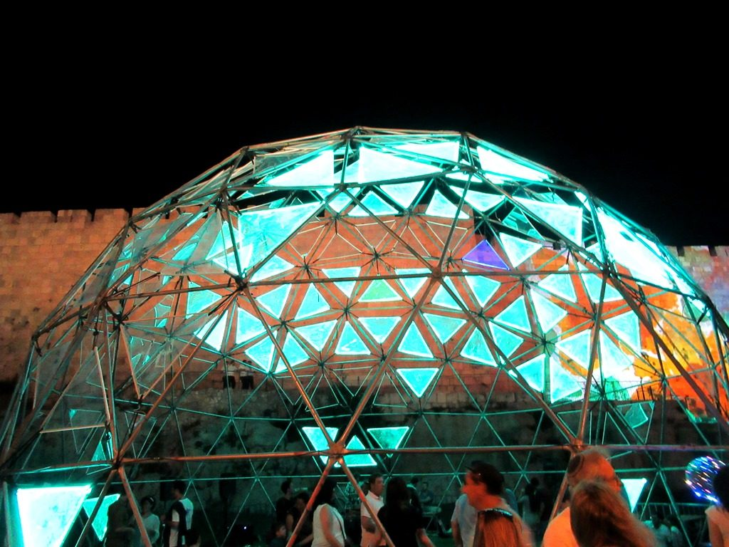 Jerusalem Light Festival lit dome with room to dance and music Jerusalem Old City