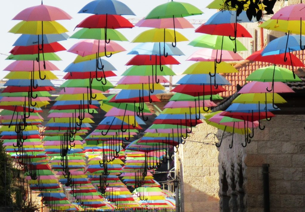 Jerusalem Israel umbrellas over street