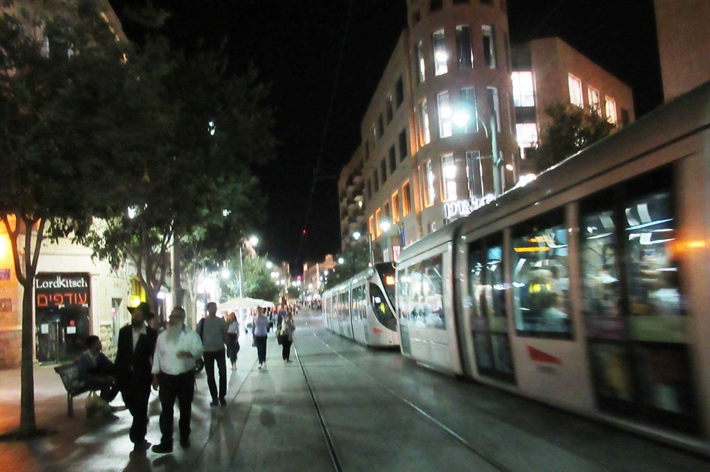 Light rail on Yaffo Road at night Jerusalem Israel