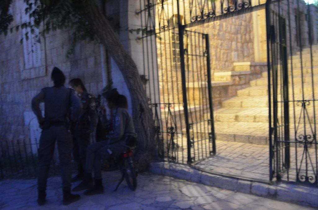 Female Israeli security guarding at night Jerusalem