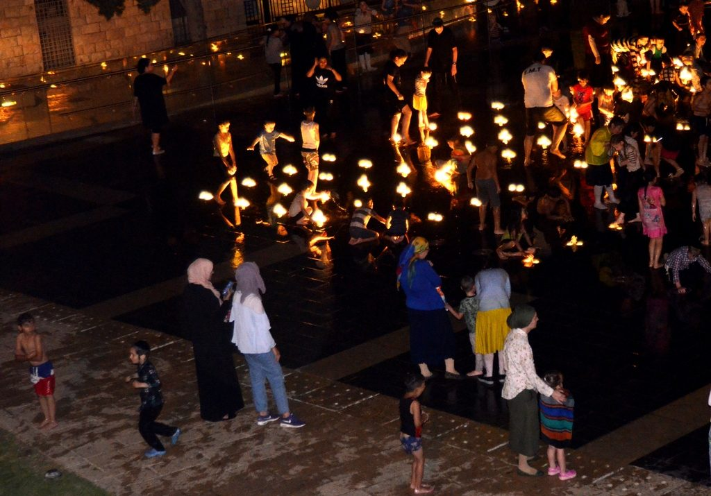 Jerusalem Teddy Park Fountain at night Muslim women and children and Jewish women and children