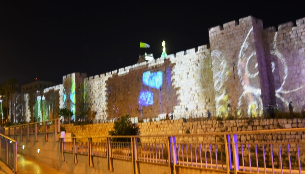 Lights on walls of Jerusalem Old city at night