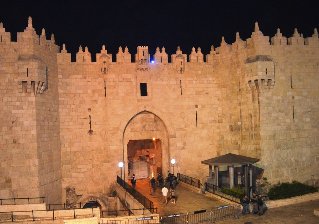 Damascus Gate at night