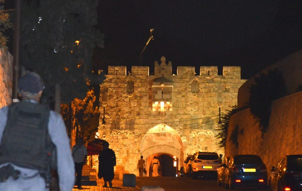 Night at Lion's Gate Jerusalem Israel Old City