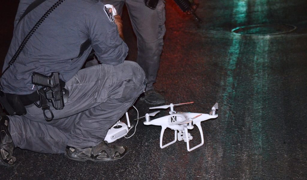 Lion's Gate security drone on ground after Walk around Walls Old City Jerusalem Israel