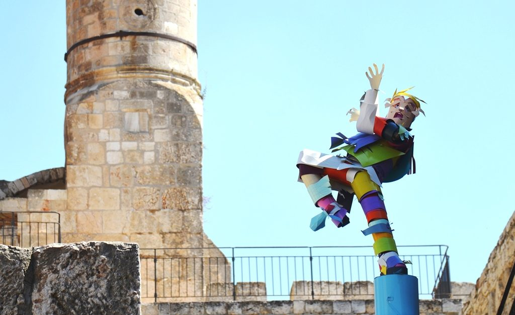 Jerusalem art exhibit Tower of David Rock Paper Scissors