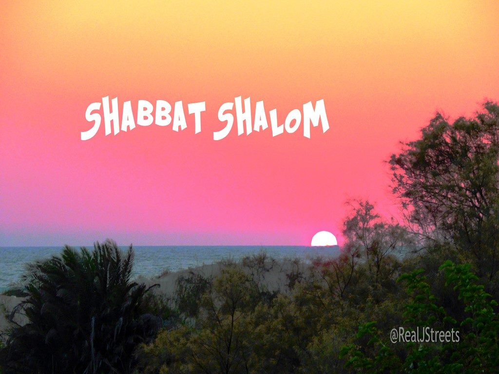 Shabbat shalom poster over water at Netanya, Israel