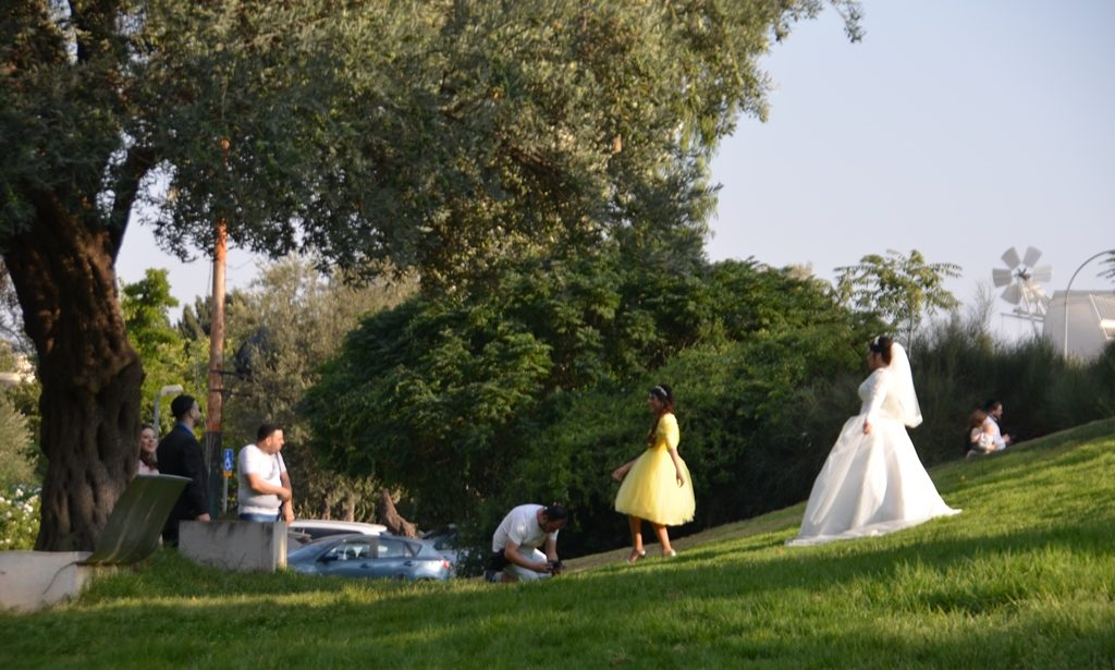 Jerusalem Israel park with wedding party taking photos
