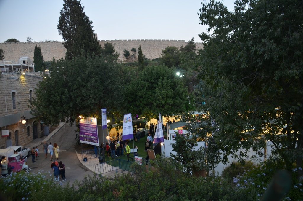 View of international booths at Jerusalem Arts and Crafts fair