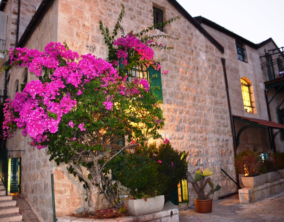 Yemin Moshe house with flowers in evening Jerusalem Israel