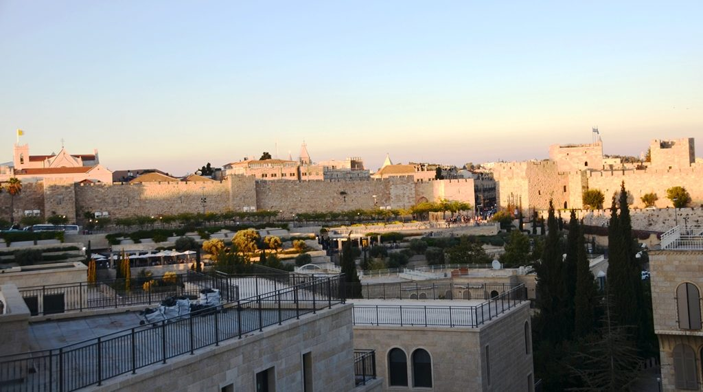 Jerusalem Israel Jaffa Gate at sunset from Bet Shmuel;