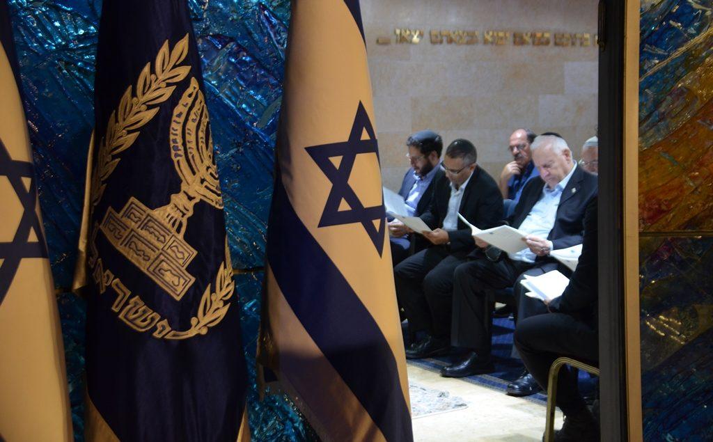 Israeli President Reuven Rivlin in Beit Hanasi Synagogue