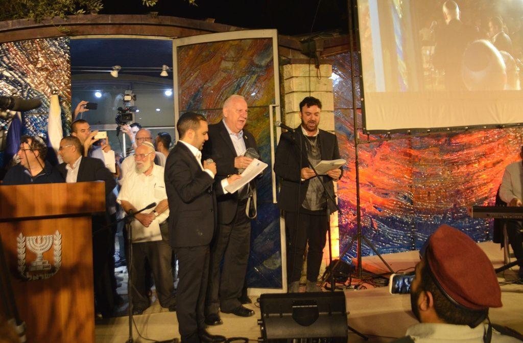 President Rivlin with Moshe Louk and David D'Or at selihot at Beit Hanasi in Jerusalem Israel
