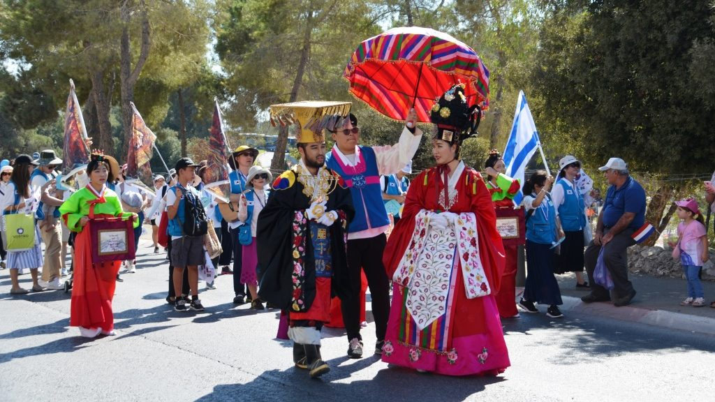 Jerusalem March people dressed in elaborate costumes