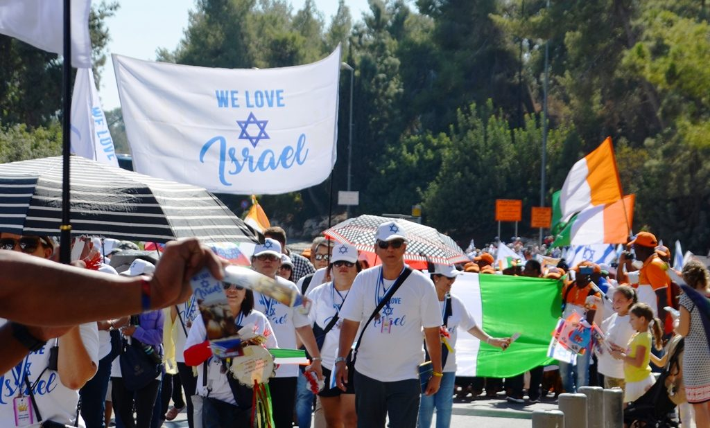 We love Israel banner at Jerusalem Sukkot March