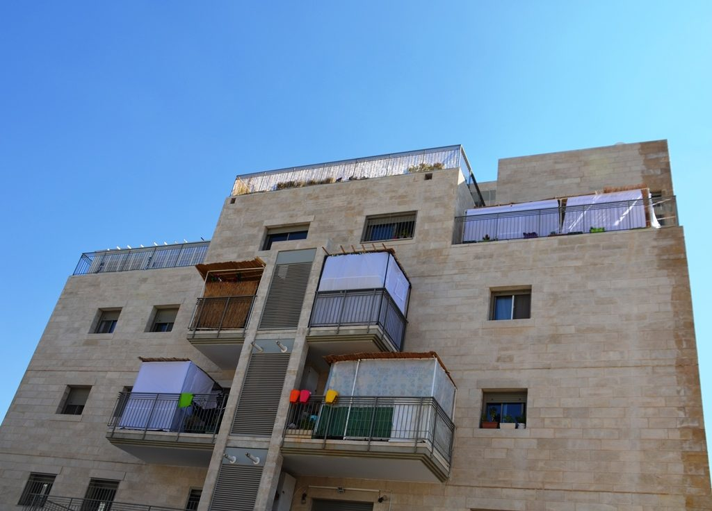 Sukkah on balconies in Jerusalem Israel