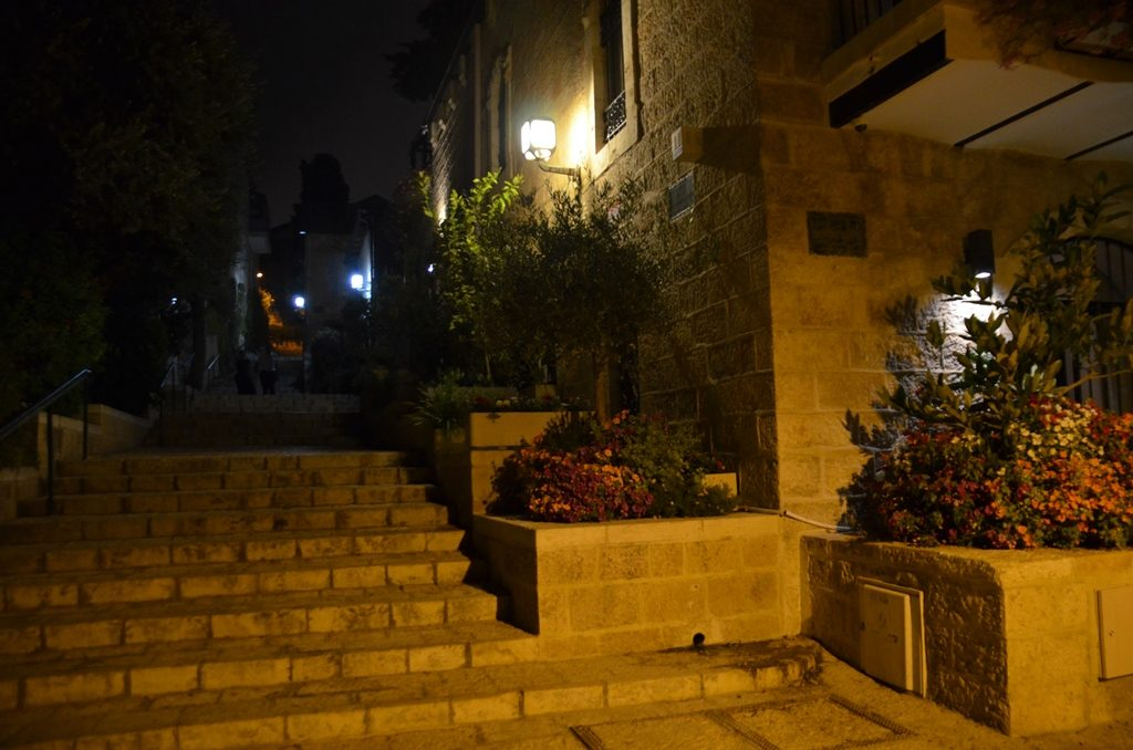 Night time in Yemin Moshe stairs