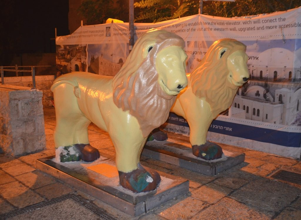 Newly painted lions before holidays in Jerusalem Israel