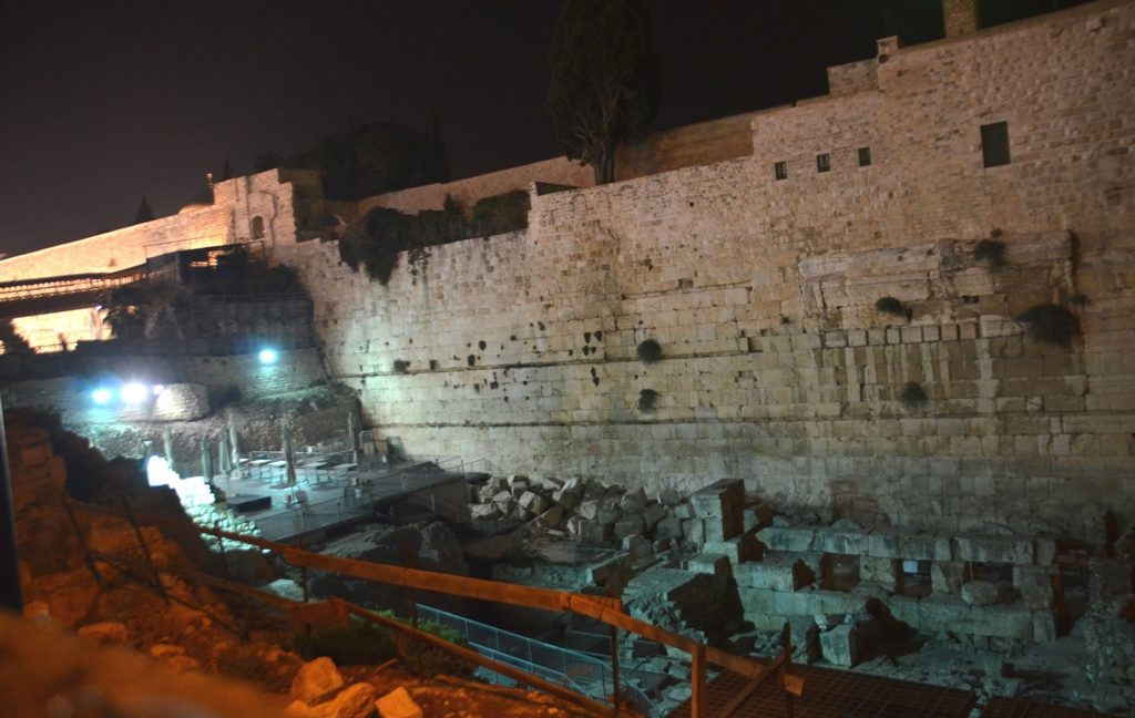 Night time at Western Wall Kotel, egalitarian area Robinson's Arch empty