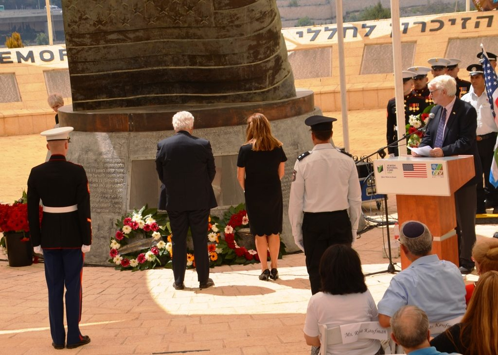Amb. David and Tammy Friedman stand after placing a wreathe at Israel-US September 11 memorial
