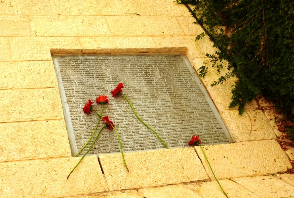 Jerusalem memorial to victims of September 11 flowers placed on names of murdered.