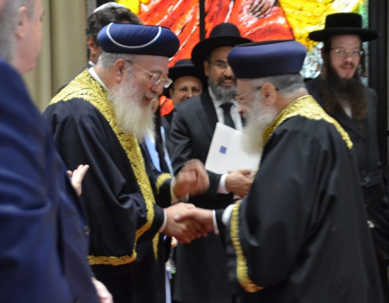 Rabbi Amar and Rabbi Yosef at Israeli President House