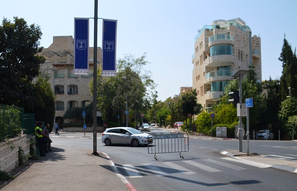 Jerusalem street blocked to traffic during visit of German chancellor