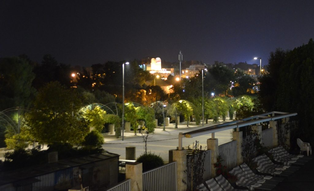 View from Inbal balcony at night Jerusalem