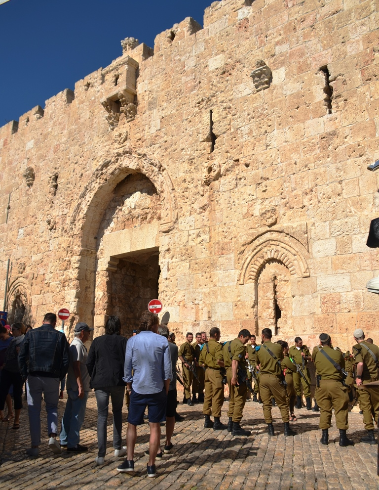 Soldiers and tourist near Zion Gate in Jerusalem Israel entrance to Old City