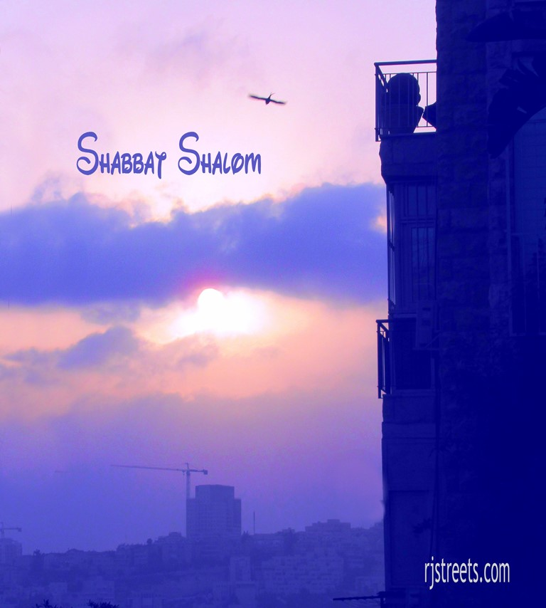 Sunset in Jerusalem, Israel used for shabat shalom poster