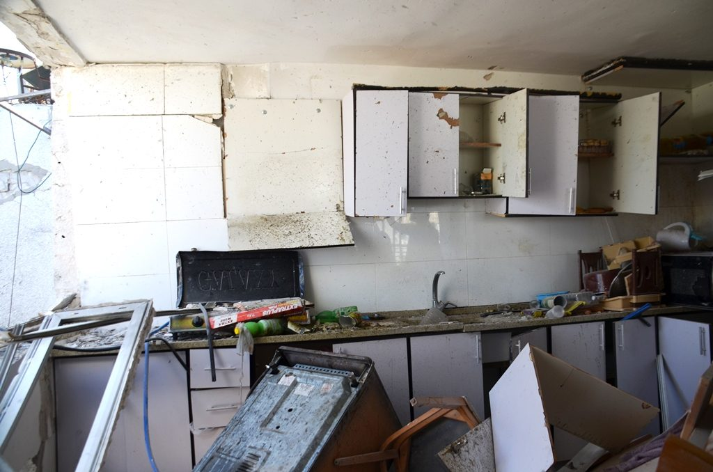 Damaged building in Ashkelon where man was killed by rocket from Gaza