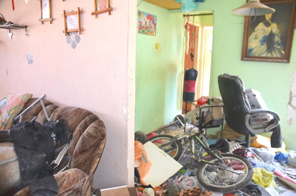 Damage of home ruined by Hamas rocket in Ashkelon