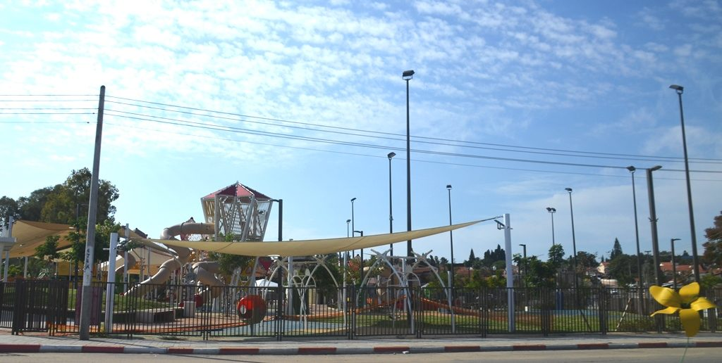 Playground in Sderot empty on day of from school because of rocket attack from Gaza