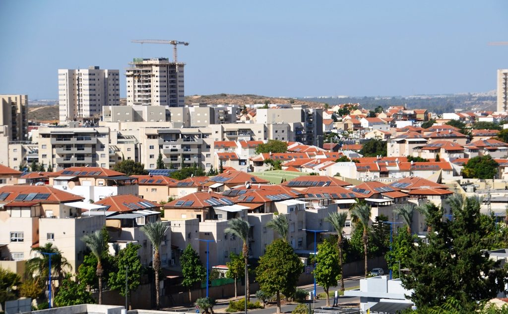 new building in Sderot Israel seen from view on Hesder Yeshiva roof