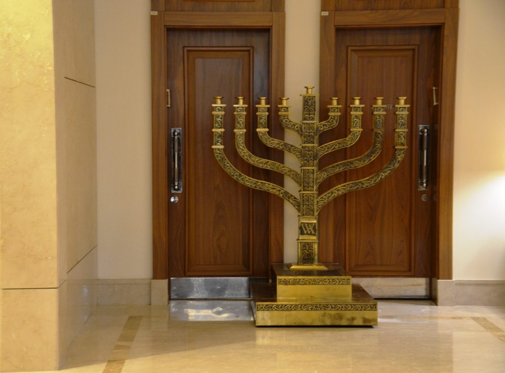 JErusalem Waldorf Astoria menorah ready for Hanuka