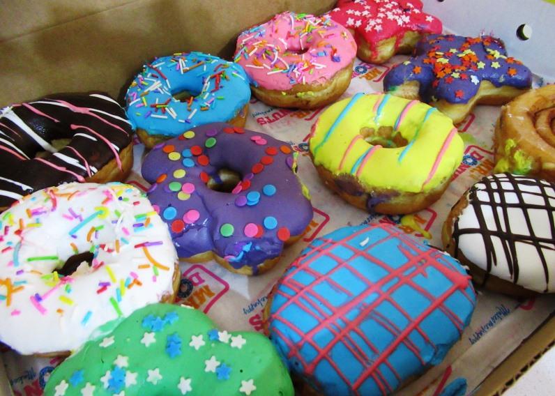 Donuts for Hanukkah in bright colors