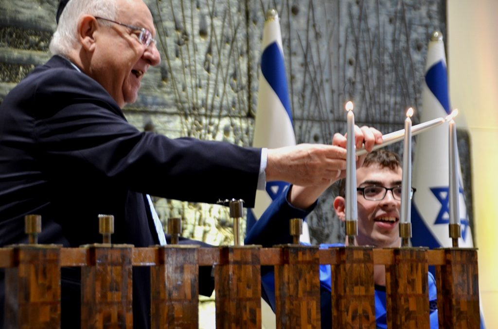 Paralympics at Beit Hanasi for Hanukkah ceremony 50 years since Tel Aviv