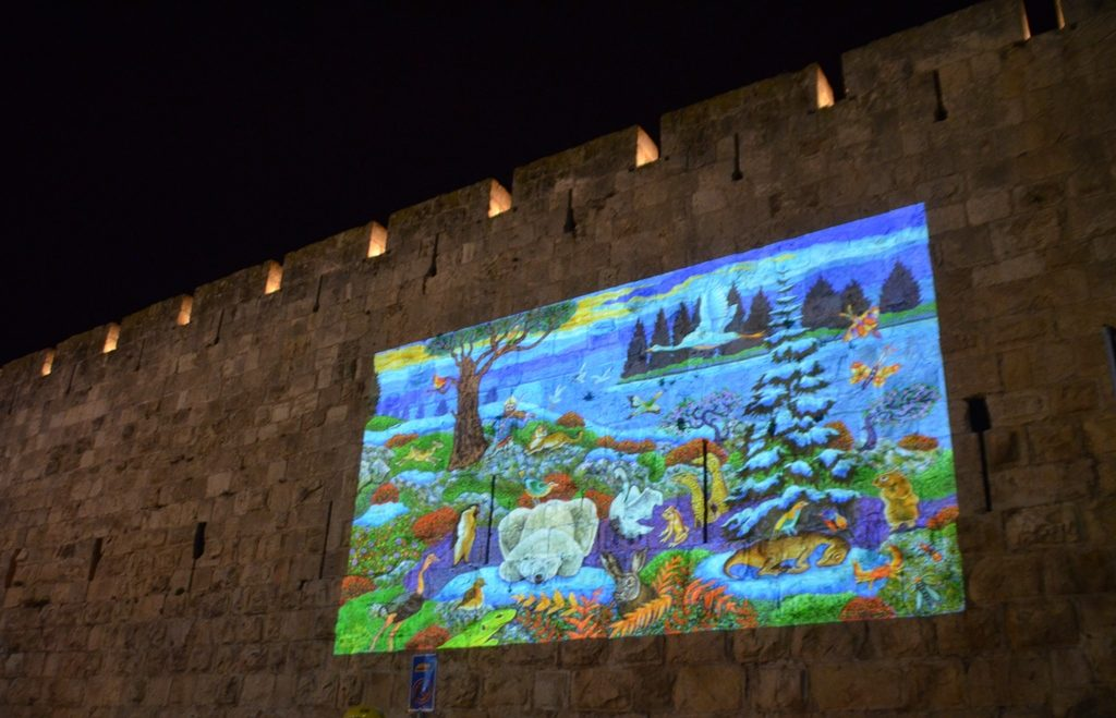 Hanukkah show on walls of Tower of David Jerusalem Israel Hanukkah