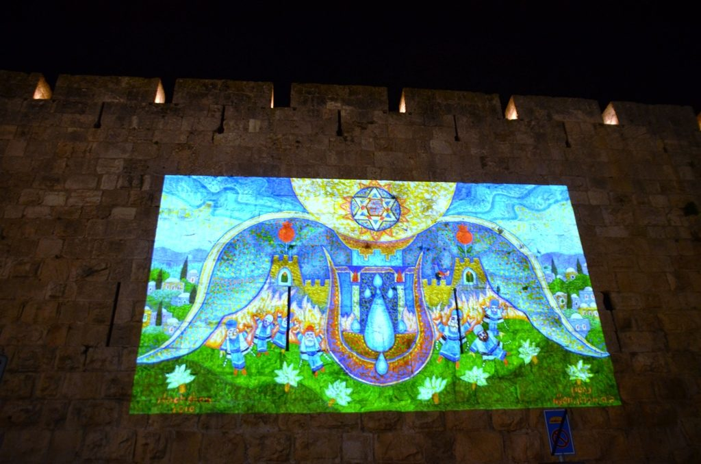 Hanukkah on walls in Old City Jerusalem Israel